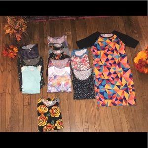 🔥🔥Lot of 12 LulaRoe Shirts and Dress Size XS-M